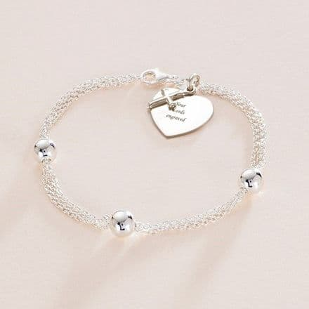Silver Bead Bracelet Personalised for First Holy Communion