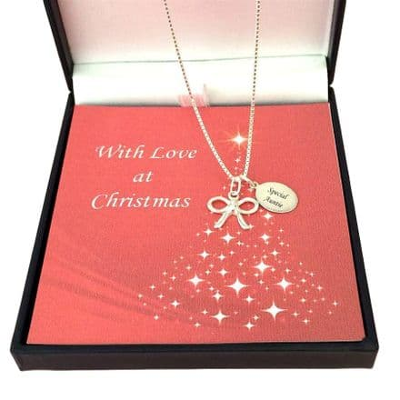 Silver Bow Necklace with Engraved Tag for Christmas