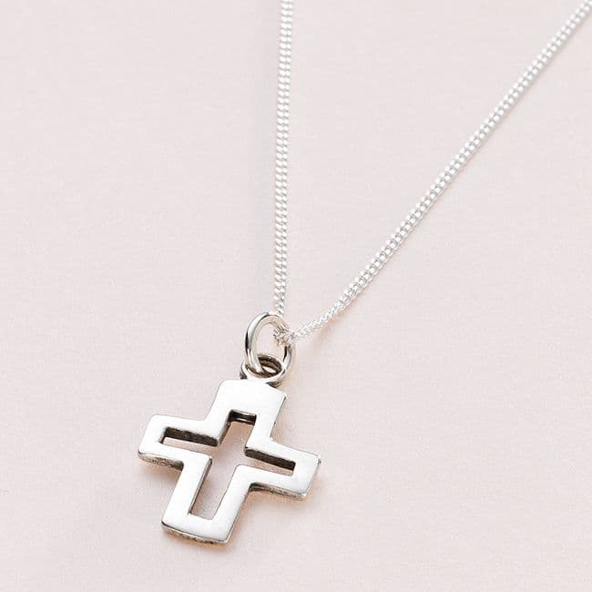 Silver Cross Christening Necklace, Can be Personalised | Jewels 4 Girls