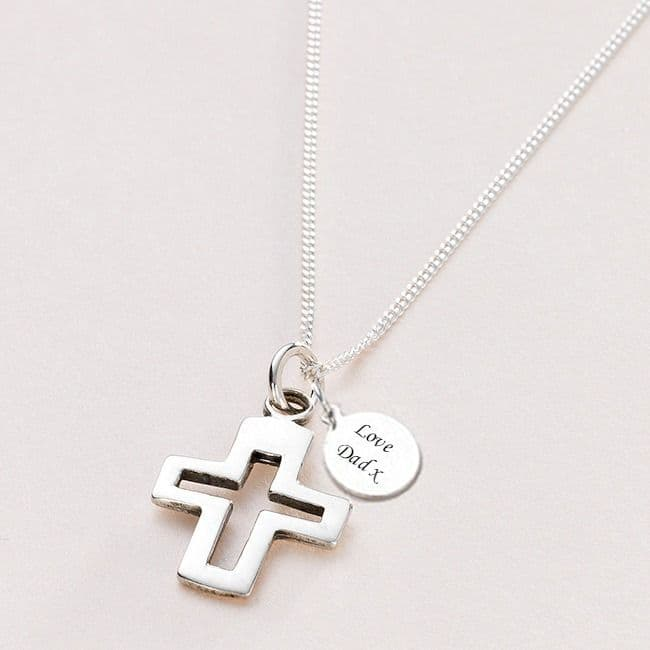 Silver Cross Communion Necklace, Can be Personalised | Jewels 4 Girls