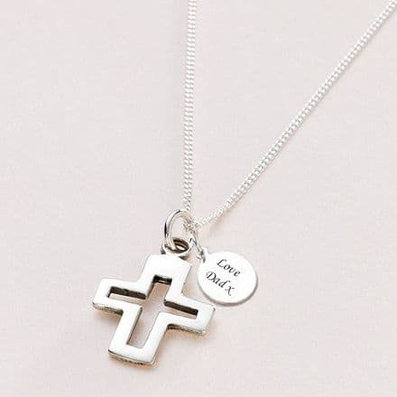 Silver Cross Communion Necklace, Can be Personalised