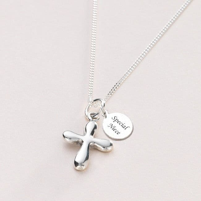 Silver Cross Communion Necklace, Personalised Engraving   Jewels 4 Girls