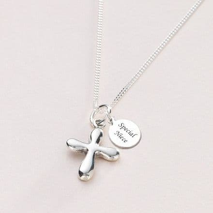 Silver Cross Communion Necklace, Personalised Engraving