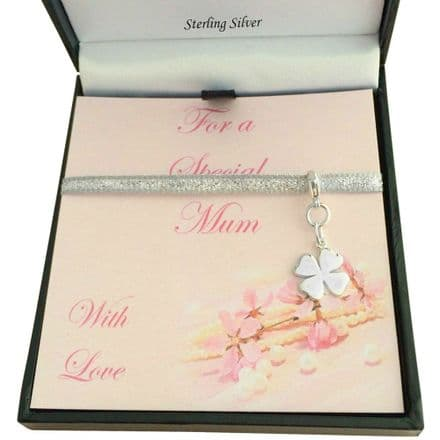 Silver Four Leaf Clover Charm, Gift Boxed for Mum, Goddaughter etc