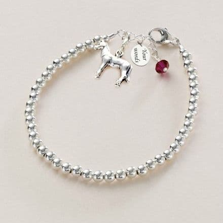 Silver Horse Bracelet with Engraving and Birthstone
