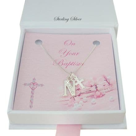 Silver Letter and Cross Necklace for Baptism