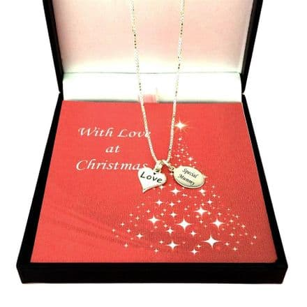 Silver Love Heart Necklace with Engraved Tag for Christmas