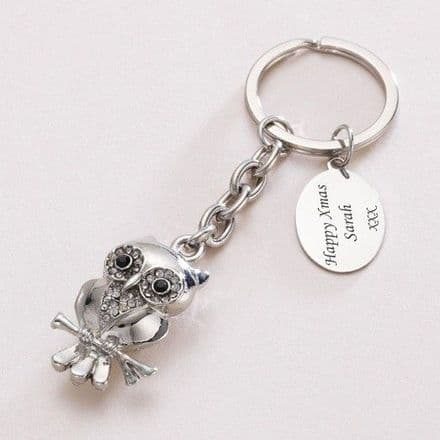 Silver Owl Keyring with Engraving