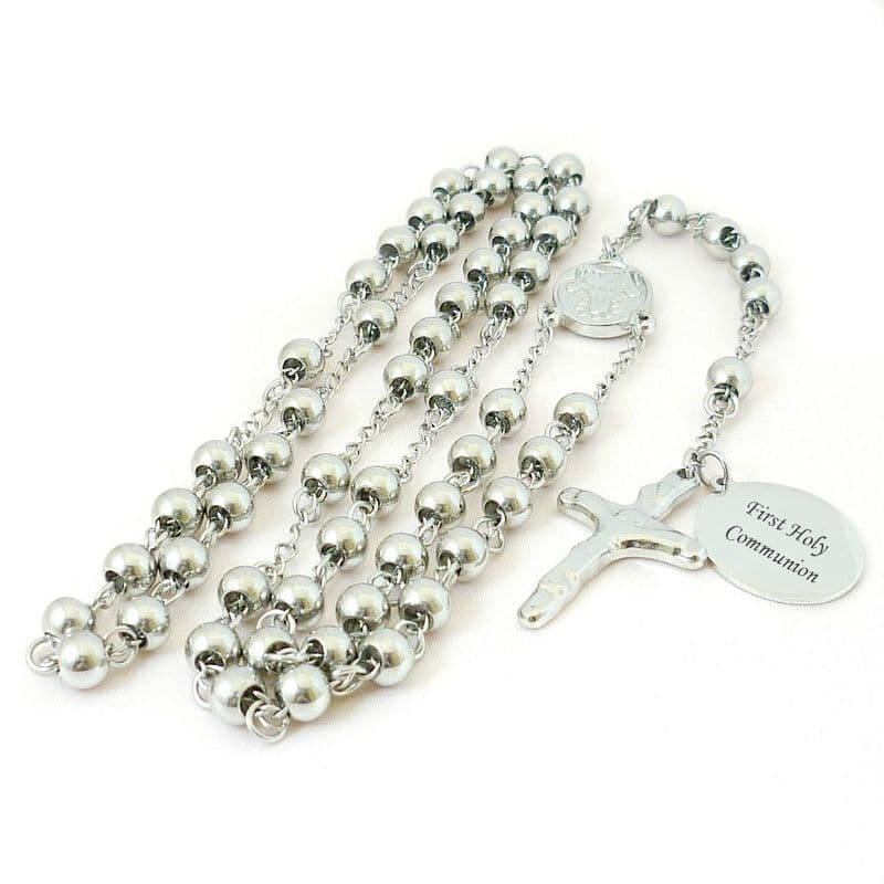 Silver Steel Rosary Beads, Very High Quality, Personalised | Jewels 4 Girls