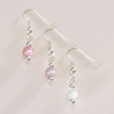 Single Cats Eye Earrings, Many Colours