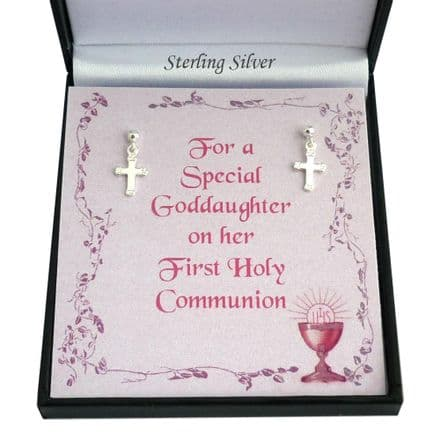 Small Silver Cross Earrings for First Holy Communion