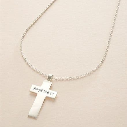 Solid Silver Engraved Cross Personalised Necklace