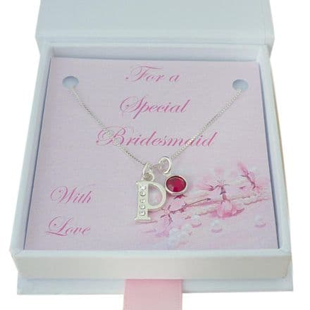Sterling Silver and CZ Letter Necklace with Birthstone