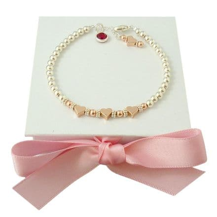 Sterling Silver and Rose Gold Bracelet with Birthstone