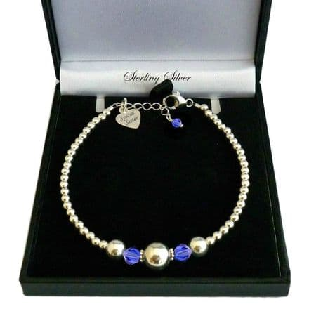 Sterling Silver Beads Bracelet with Engraved Tag