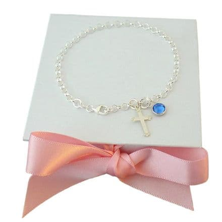 Sterling Silver Charm Bracelet with Cross and Birthstone