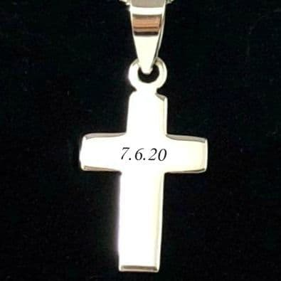 Sterling Silver Cross Necklace with Engraving in Gift Box