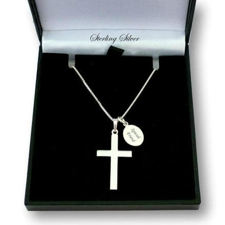 Sterling Silver Cross on Chain with Engraved Tag