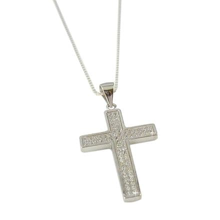 Sterling Silver Cross with Cubic Zirconia on Silver Box Chain