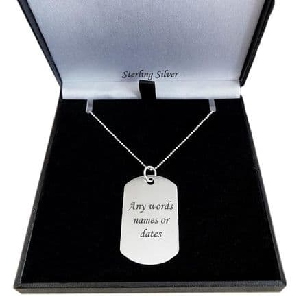 Sterling Silver Dogtag Necklace, Large