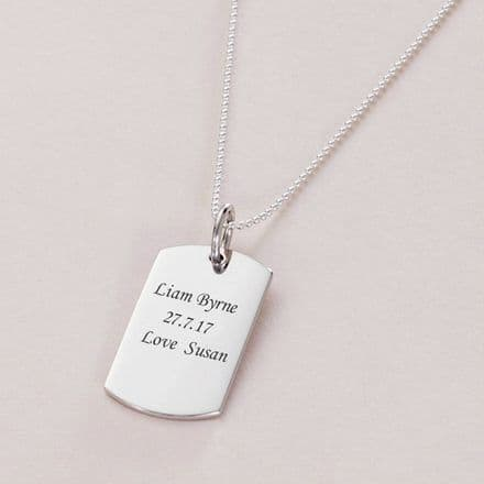 Sterling Silver Dogtag Necklace, Medium