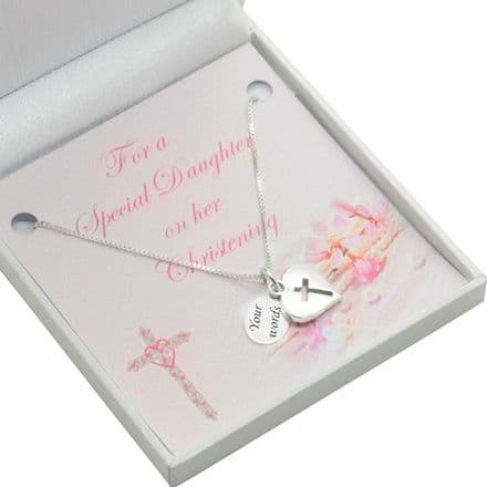 Sterling Silver Girls Christening Necklace, Personalised Engraving