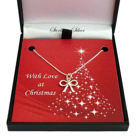 Sterling Silver Necklace for Christmas with Bow Pendant