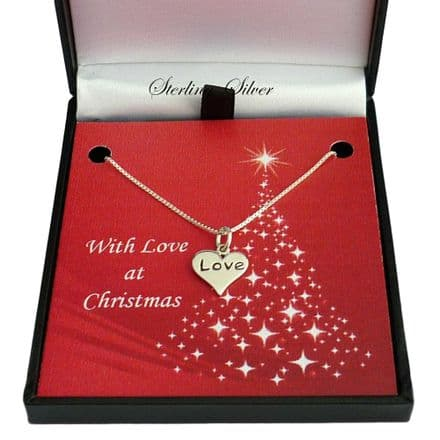 Sterling Silver Necklace for Christmas with Love Heart Pendant