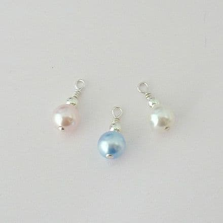 Sterling Silver Pearl Dangle Charms