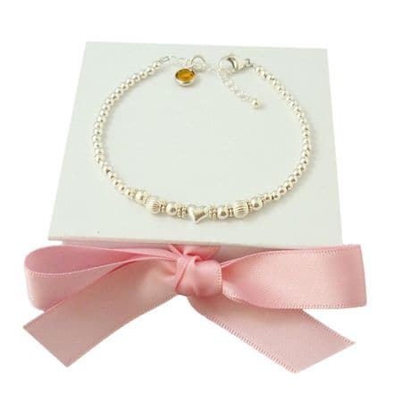 Sterling Silver Round and Heart Bead Bracelet with Birthstone Charm