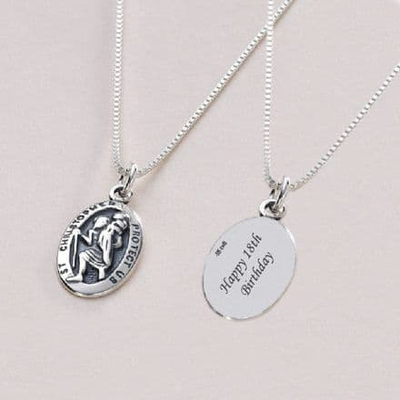 Sterling Silver Saint Christopher Necklace with Personalised Engraving