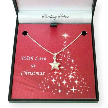 Sterling Silver Star Necklace in Christmas Box