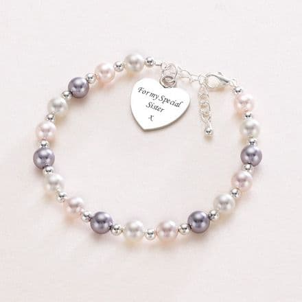 Three Colour Pearl Bracelet with Engraved Heart