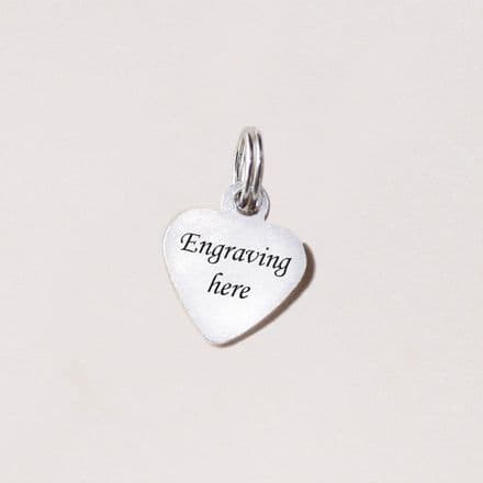 Tiny Heart Tag/Charm with Engraving 9mm x 10mm