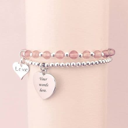 Two Stacking Bracelets. Silver Beads, Choice of Stones, Charm & Engraving