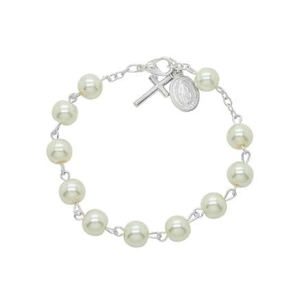 White Pearl Rosary Bracelet in Gift Pouch