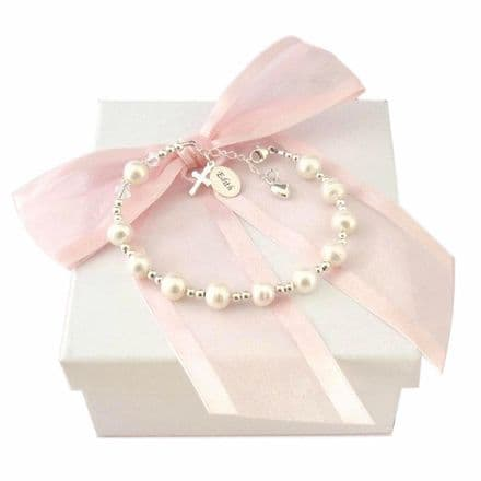 White Pearl Rosary Bracelet With Engraving
