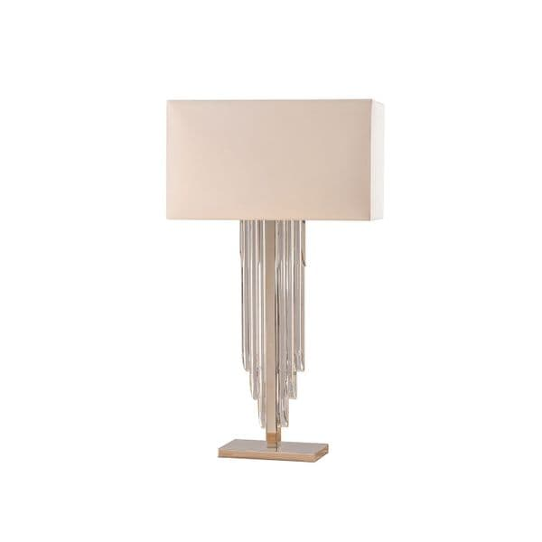 Endon Crystal Cascade Table & Cream Shade 40w SW 63475 By Massive Lighting