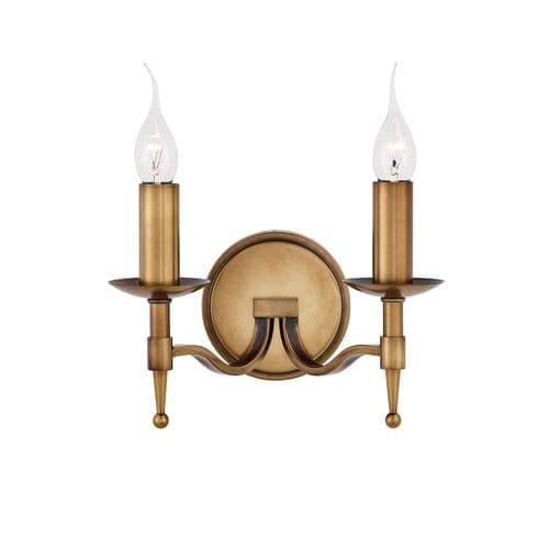 Endon Stanford Antique Brass Twin Wall 40w CA1W2B By Massive Lighting