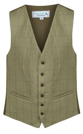 MENS 100% WOOL Kensington Green TWEED Check Waistcoat Quality Herringbone Vest
