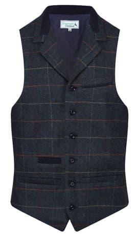 MENS WOOL Balmoral Quality TWEED Check Waistcoat With Collar Royal Navy Blue New