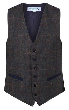 MENS WOOL blend Glendale Royal Navy Blue TWEED Check Waistcoat Quality Vest