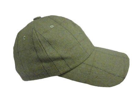 Wool Tweed Olive Heather Mens Baseball Tweed Cap Hat Hunting Shooting RRP £29