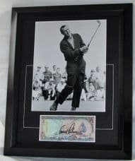 Arnold Palmer signed. Famous Golfer. Signed on a Maldives 5 Rufiyaa Bank Note