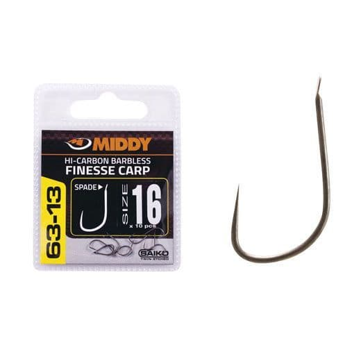 Middy 63-13 Barbless Finnesse Spade End Hooks
