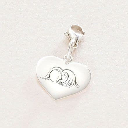 Angel Baby, Silver Heart Charm