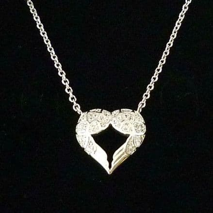 Angel Wings in a Heart Necklace with Optional Engraved Tag, Sterling Silver