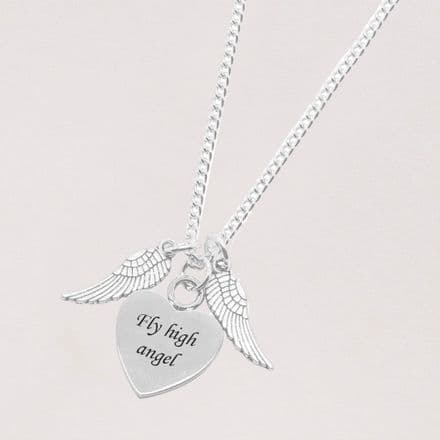 Angel Wings Necklace with Engraving