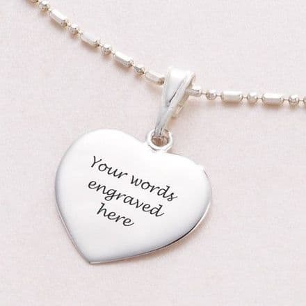 Ball & Link Necklace with Custom engraved Heart