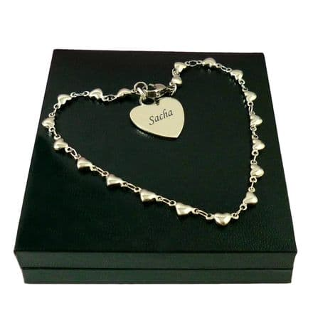 Beautiful Heart Chain Bracelet with Personalised Engraving